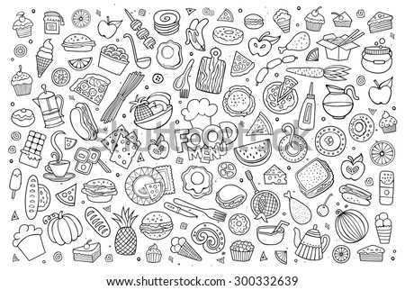 Foods doodles hand drawn sketchy vector symbols and objects - stock vector