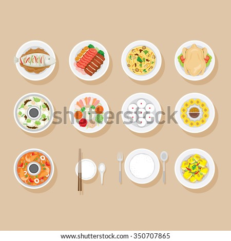 Foods On Dish Set, Traditional Celebration, China, Happy Chinese New Year - stock vector