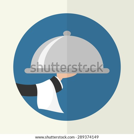 Foods Service icon. Food Serving tray platter. Simple flat vector. - stock vector