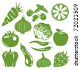 Foodstuff green icons set. Illustration vector. - stock vector