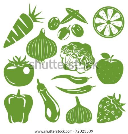 Foodstuff green icons set. Illustration vector. - stock vector