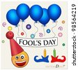 Fool's day. Celebrating April Fools' Day. The amusing clown with poster.  Vector illustration. - stock vector