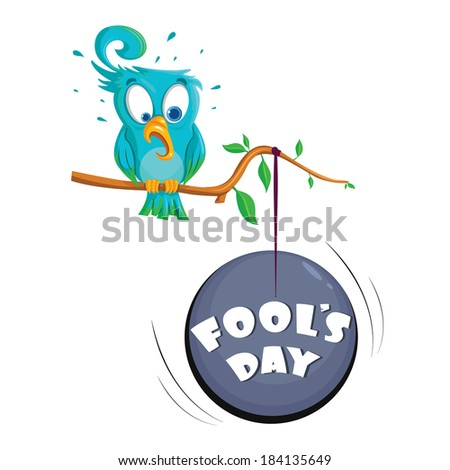 Fool's Day illustration concept with bird sitting on tree - stock vector