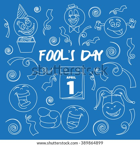 Fools day- 1 April - stock vector