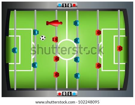 Foosbal table from top - stock vector