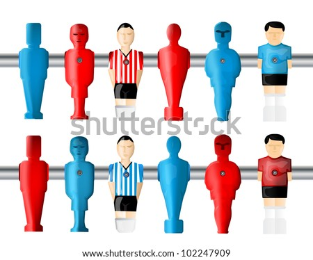 Foosball player set - stock vector
