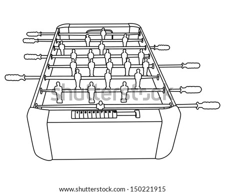 Foosball Soccer Table Game vector isolated on white background  - stock vector