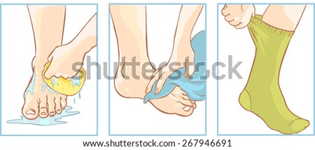 foot care - stock vector