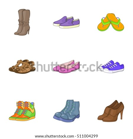 Shoe Icons Set Cartoon Style Men Stock Vector 489145678 ...