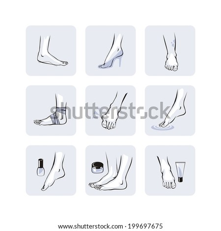 Foot care set with various health and cosmetic situations - stock vector