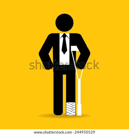 foot injured cartoon businessman in bandage with crutches : be careful prevent accidents : safety health concept on yellow background vector - stock vector