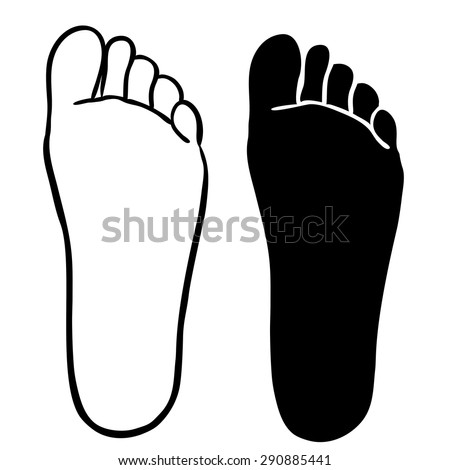 FOOT outline and silhouette illustration vector - stock vector