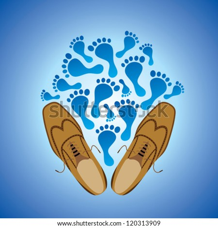 foot prints and illustration of pair of grungy shoe - stock vector