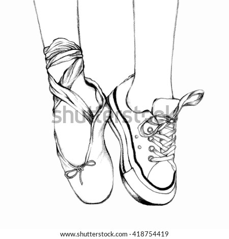 Pointe shoes line drawing