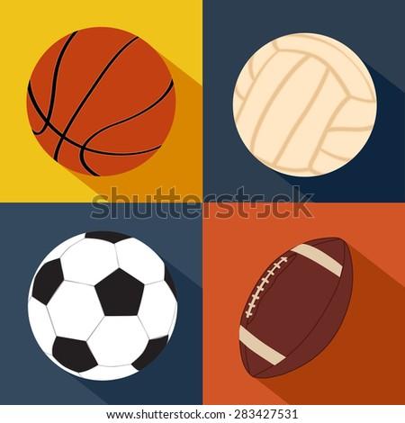 Football, American football, volleyball, basketball balls. flat vector - stock vector