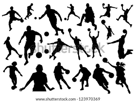 Football and Basketball Silhouettes - stock vector