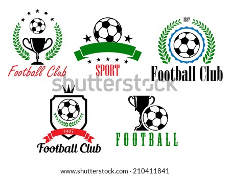 Football and soccer symbols or emblems with heraldic shield, ball, cup, laurel wreath, stars, banner  and text,  suitable for sporting logo and heraldic design - stock vector