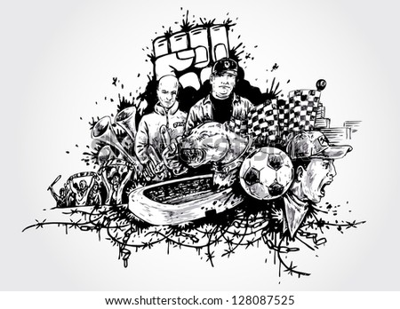 football and sports fans- artistic hand-drawn illustration - stock vector