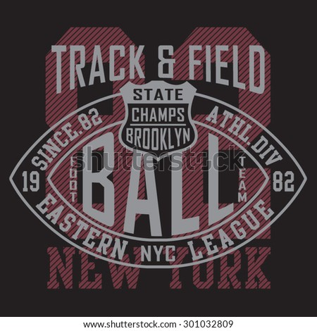 Football athletic sport typography, t-shirt graphics, vectors