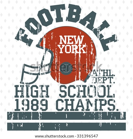Football Athletics Sport Typography, T-shirt fashion design grunge style graphics