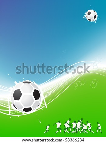 Football background for your design. Players on field, soccer ball - stock vector