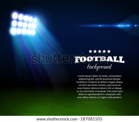 Football background with green field, spotlight and place for text. - stock vector