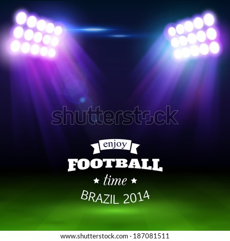 Football background with green field, spotlights and place for text. - stock vector