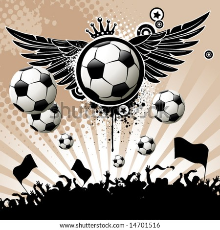 Football background  with the balls, wings and stars - stock vector