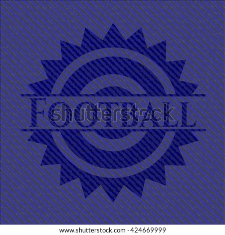 Football badge with jean texture - stock vector