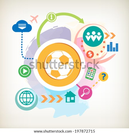Football ball and and cloud on abstract colorful watercolor background with different icon and elements.  - stock vector