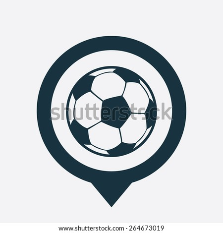 football ball icon map pin on white background  - stock vector