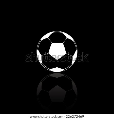 Football ball icon - vector illustration with reflection isolated on black