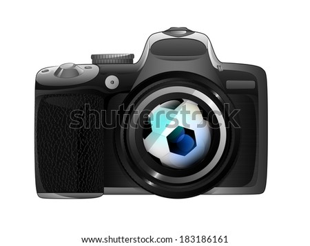 football ball in camera focus ready to snapshot isolated vector illustration