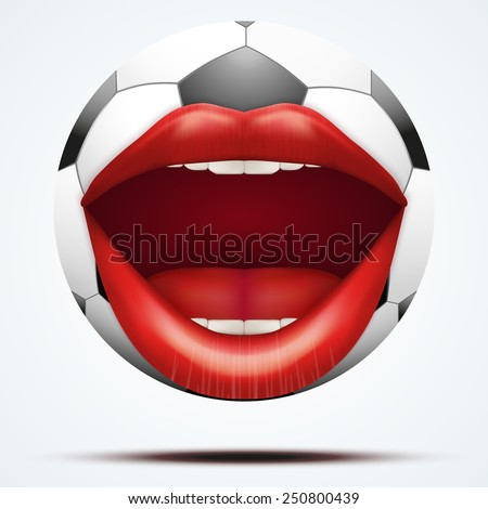Football ball with a talking female mouth. Vector illustration Isolated on white background. - stock vector
