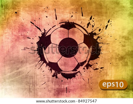 Football banner with the grunge balls background - stock vector