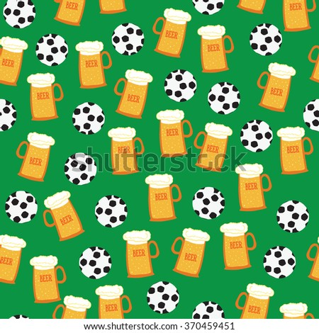 football, beer, vector pattern - stock vector
