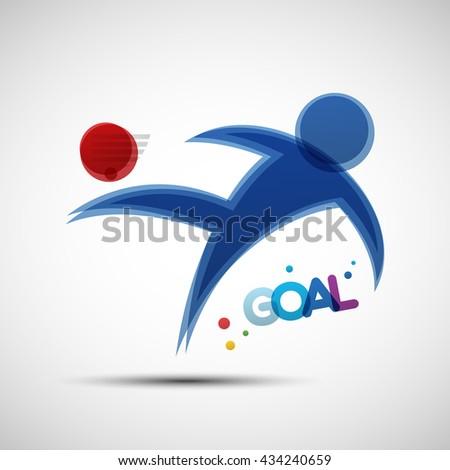 Football championship banner. Soccer player kicks the ball. Vector illustration of abstract footballer silhouette for your design - stock vector