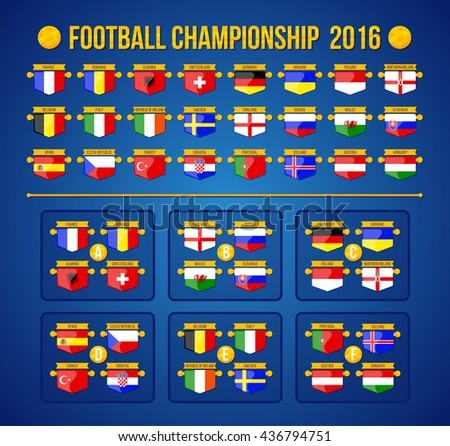 Football championship 2016. European football championship. Vector flags and groups.