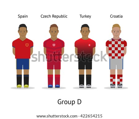 Football championship in France 2016. National soccer players kit Group D - Spain, Czech Republic, Turkey, Croatia. Vector illustration. - stock vector