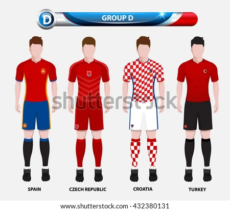 Football Championship Infographic, Soccer Players GROUP D. Football jersey. - stock vector