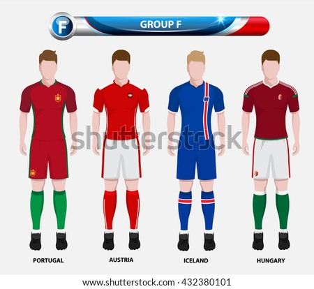 Football Championship Infographic, Soccer Players GROUP F. Football jersey. - stock vector