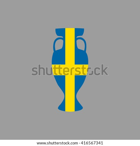 Football championship vector cup icon. Sweden participant. vector flat cup isolated on grey backdrop. Leadership prize symbol cup in colors of national flag. Championship winner prize trophy symbol - stock vector
