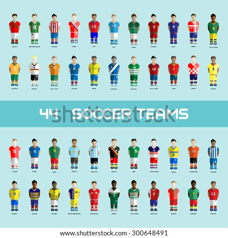 Football club Soccer Players silhouettes. Computer game Soccer team players big set. Sports infographic. Digital background vector illustration.  - stock vector