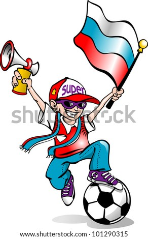 football fan and a flag with a vuvuzela in his hands gleefully jumps. vector - stock vector