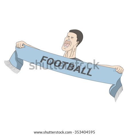 Football fan shouting with a scarf in his hands. EPS10 vector illustration - stock vector
