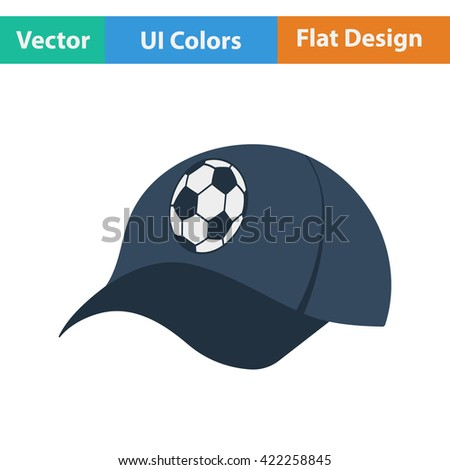 Football fans cap icon. Flat design in ui colors.Vector illustration. - stock vector