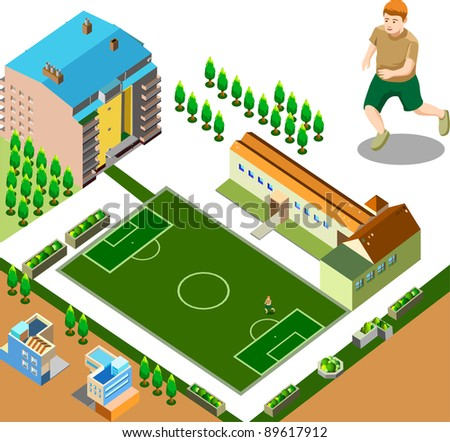 football field and environment - stock vector
