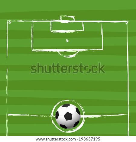 football field grunge drawing vector illustration - stock vector