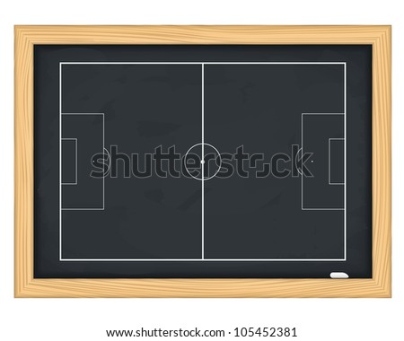 Football field on blackboard, vector eps10 illustration