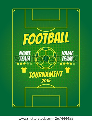 Football field with ball. Poster soccer tournament. Vector illustration - stock vector